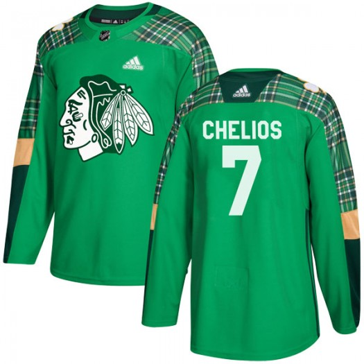 Chris Chelios Chicago Blackhawks Men's Adidas Authentic Green St. Patrick's Day Practice Jersey
