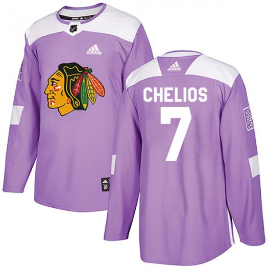 Chris Chelios Chicago Blackhawks Men's Adidas Authentic Purple Fights Cancer Practice Jersey