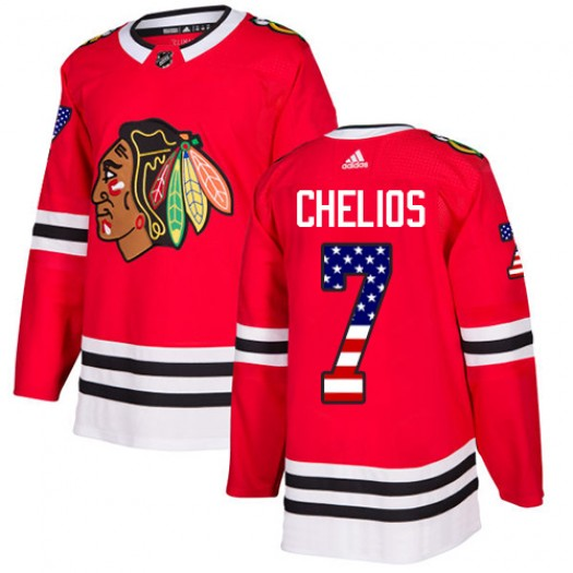 Chris Chelios Chicago Blackhawks Men's Adidas Authentic Red USA Flag Fashion Jersey