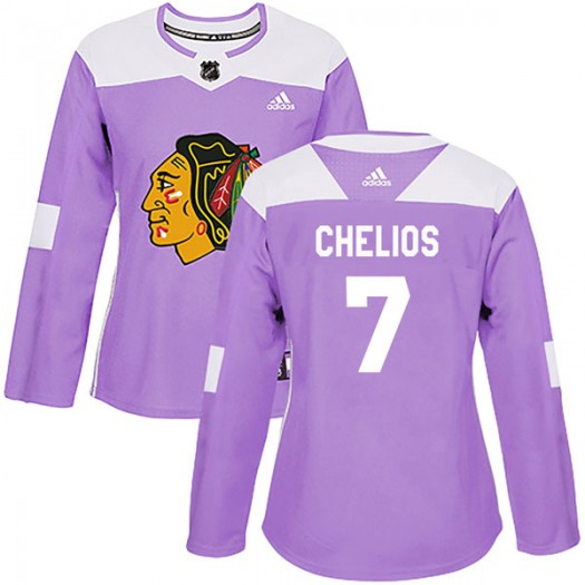 Chris Chelios Chicago Blackhawks Women's Adidas Authentic Purple Fights Cancer Practice Jersey