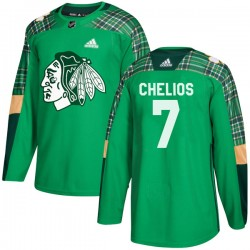 Chris Chelios Chicago Blackhawks Youth Adidas Authentic Green St. Patrick's Day Practice Jersey