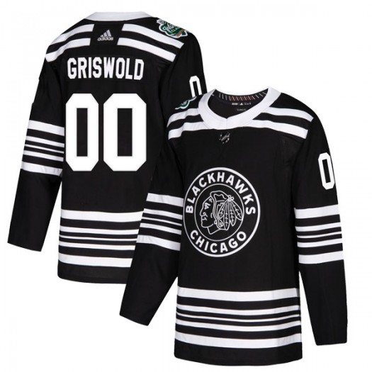Clark Griswold Chicago Blackhawks Youth Adidas Authentic Black 2019 Winter Classic Jersey