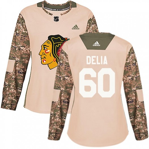 Collin Delia Chicago Blackhawks Women's Adidas Authentic Camo Veterans Day Practice Jersey