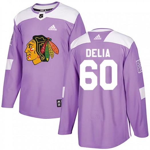 Collin Delia Chicago Blackhawks Youth Adidas Authentic Purple Fights Cancer Practice Jersey