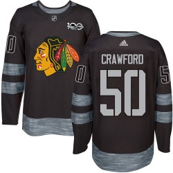 Corey Crawford Chicago Blackhawks Men's Adidas Authentic Black 1917-2017 100th Anniversary Jersey