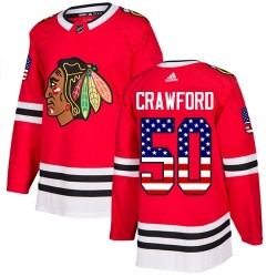 Corey Crawford Chicago Blackhawks Men's Adidas Authentic Red USA Flag Fashion Jersey