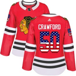 Corey Crawford Chicago Blackhawks Women's Adidas Authentic Red USA Flag Fashion Jersey