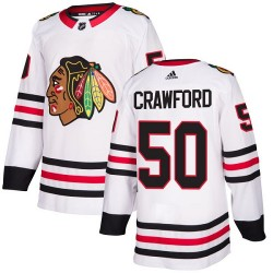 Corey Crawford Chicago Blackhawks Youth Adidas Authentic White Away Jersey