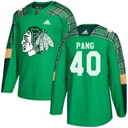 Darren Pang Chicago Blackhawks Men's Adidas Authentic Green St. Patrick's Day Practice Jersey
