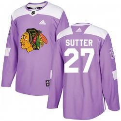 Darryl Sutter Chicago Blackhawks Men's Adidas Authentic Purple Fights Cancer Practice Jersey