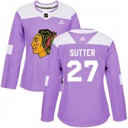 Darryl Sutter Chicago Blackhawks Women's Adidas Authentic Purple Fights Cancer Practice Jersey