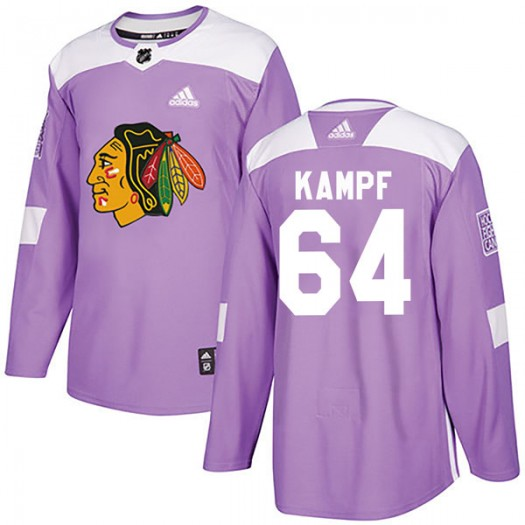 David Kampf Chicago Blackhawks Men's Adidas Authentic Purple Fights Cancer Practice Jersey