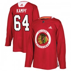 David Kampf Chicago Blackhawks Men's Adidas Authentic Red Home Practice Jersey