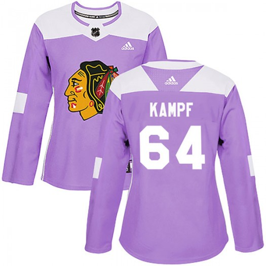 David Kampf Chicago Blackhawks Women's Adidas Authentic Purple Fights Cancer Practice Jersey