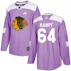 David Kampf Chicago Blackhawks Youth Adidas Authentic Purple Fights Cancer Practice Jersey
