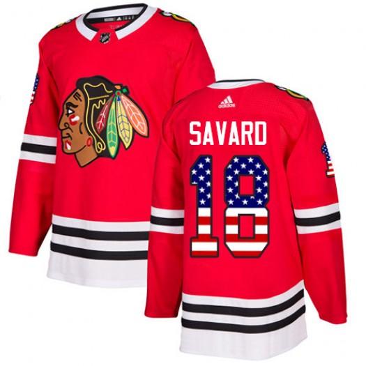 Denis Savard Chicago Blackhawks Men's Adidas Authentic Red USA Flag Fashion Jersey