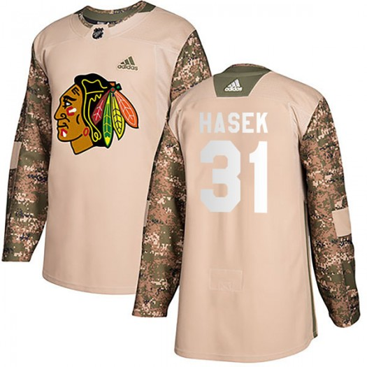 Dominik Hasek Chicago Blackhawks Men's Adidas Authentic Camo Veterans Day Practice Jersey