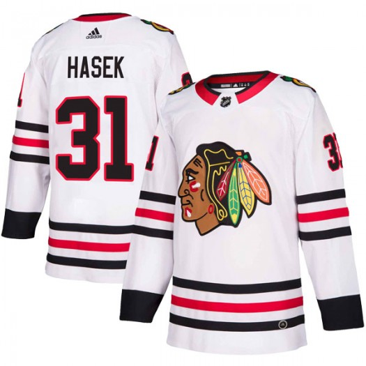 Dominik Hasek Chicago Blackhawks Men's Adidas Authentic White Away Jersey