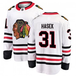 Dominik Hasek Chicago Blackhawks Men's Fanatics Branded White Breakaway Away Jersey