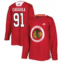 Drake Caggiula Chicago Blackhawks Men's Adidas Authentic Red Home Practice Jersey