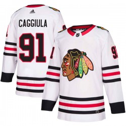 Drake Caggiula Chicago Blackhawks Men's Adidas Authentic White Away Jersey