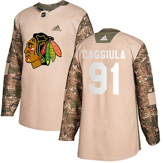 Drake Caggiula Chicago Blackhawks Youth Adidas Authentic Camo Veterans Day Practice Jersey