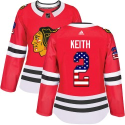 Duncan Keith Chicago Blackhawks Women's Adidas Authentic Red USA Flag Fashion Jersey