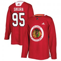 Dylan Sikura Chicago Blackhawks Men's Adidas Authentic Red Home Practice Jersey