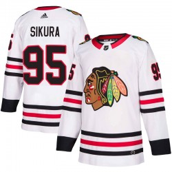 Dylan Sikura Chicago Blackhawks Men's Adidas Authentic White Away Jersey
