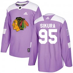Dylan Sikura Chicago Blackhawks Youth Adidas Authentic Purple Fights Cancer Practice Jersey