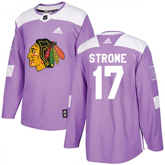 Dylan Strome Chicago Blackhawks Men's Adidas Authentic Purple Fights Cancer Practice Jersey