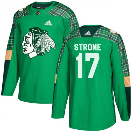 Dylan Strome Chicago Blackhawks Youth Adidas Authentic Green St. Patrick's Day Practice Jersey
