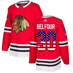 ED Belfour Chicago Blackhawks Men's Adidas Authentic Red USA Flag Fashion Jersey