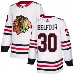 ED Belfour Chicago Blackhawks Men's Adidas Authentic White Jersey