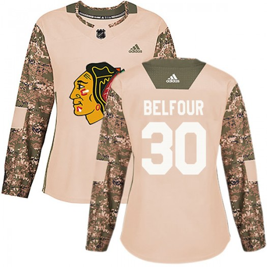 ED Belfour Chicago Blackhawks Women's Adidas Authentic Camo Veterans Day Practice Jersey