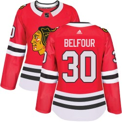 ED Belfour Chicago Blackhawks Women's Adidas Authentic Red Home Jersey