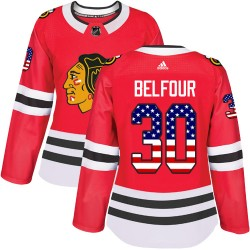 ED Belfour Chicago Blackhawks Women's Adidas Authentic Red USA Flag Fashion Jersey