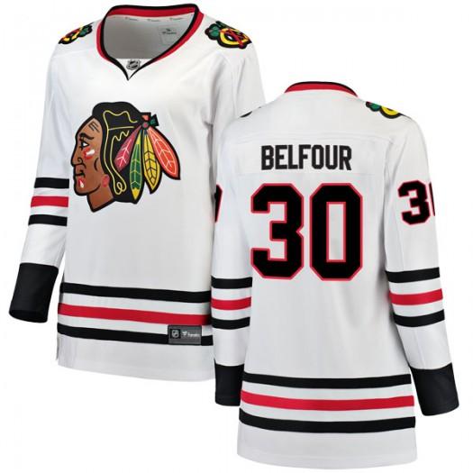 ED Belfour Chicago Blackhawks Women's Fanatics Branded White Breakaway Away Jersey