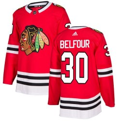 ED Belfour Chicago Blackhawks Youth Adidas Authentic Red Home Jersey