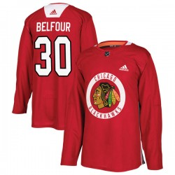 ED Belfour Chicago Blackhawks Youth Adidas Authentic Red Home Practice Jersey