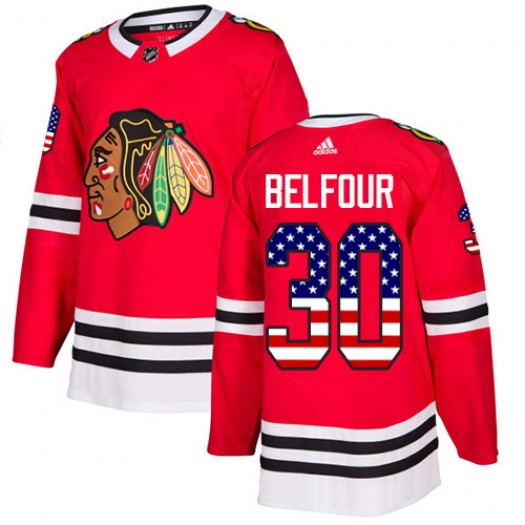 ED Belfour Chicago Blackhawks Youth Adidas Authentic Red USA Flag Fashion Jersey