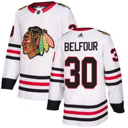 ED Belfour Chicago Blackhawks Youth Adidas Authentic White Away Jersey