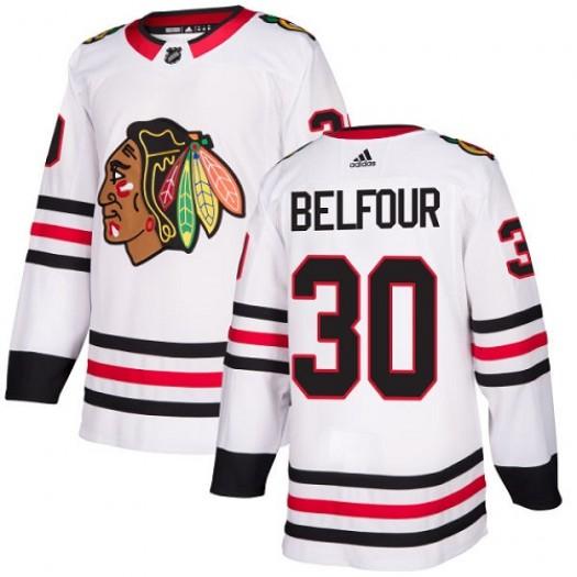 ED Belfour Chicago Blackhawks Youth Adidas Authentic White Away Jersey