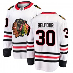 ED Belfour Chicago Blackhawks Youth Fanatics Branded White Breakaway Away Jersey