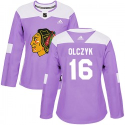 Ed Olczyk Chicago Blackhawks Women's Adidas Authentic Purple Fights Cancer Practice Jersey