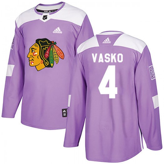 Elmer Vasko Chicago Blackhawks Men's Adidas Authentic Purple Fights Cancer Practice Jersey