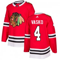 Elmer Vasko Chicago Blackhawks Men's Adidas Authentic Red Home Jersey