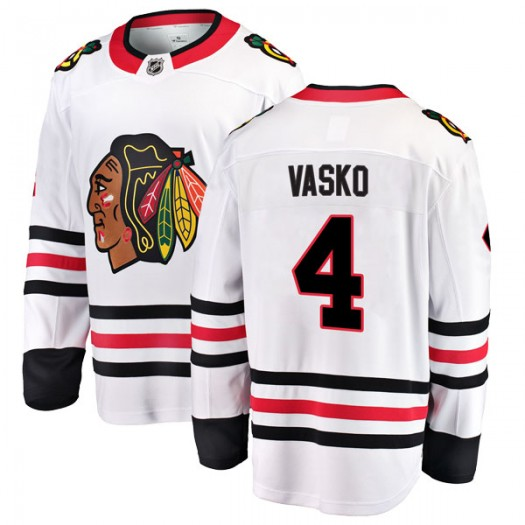 Elmer Vasko Chicago Blackhawks Men's Fanatics Branded White Breakaway Away Jersey