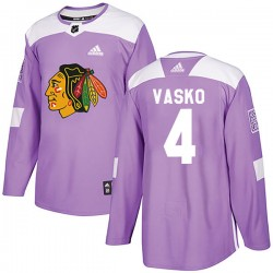 Elmer Vasko Chicago Blackhawks Youth Adidas Authentic Purple Fights Cancer Practice Jersey