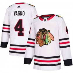 Elmer Vasko Chicago Blackhawks Youth Adidas Authentic White Away Jersey